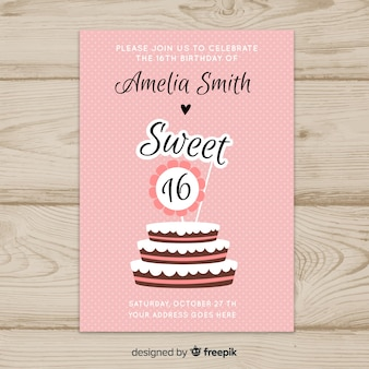 Szesnaście tort urodzinowy szablon zaproszenia