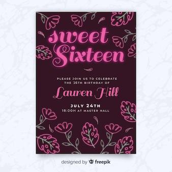 Szesnaście urodziny neonowe kwiaty szablon zaproszenia