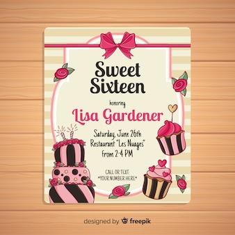 Szesnaście urodziny ręcznie rysowane karty ciasto