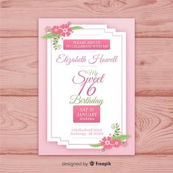 Szesnaście urodziny ręcznie rysowane kwiat rogi szablon zaproszenia