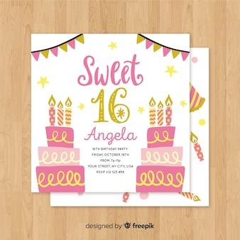 Szesnaście urodziny ręcznie rysowane szablon zaproszenia ciasta