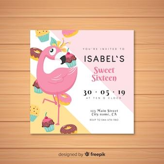 Szesnaście urodziny szablon zaproszenia flamingo