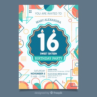 Szesnaście urodziny szablon zaproszenia linii geometrycznych