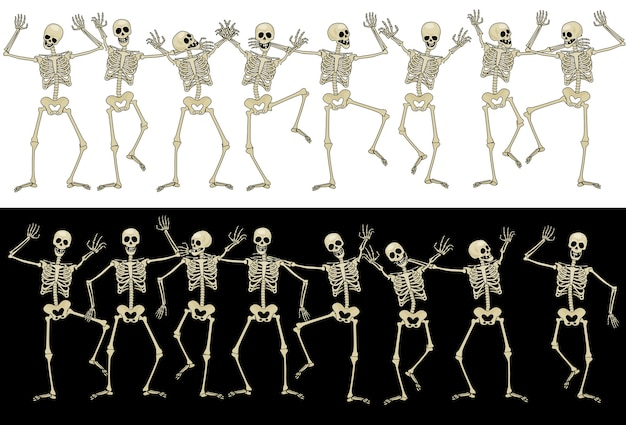 Szesnaście zabawnych szkieletów