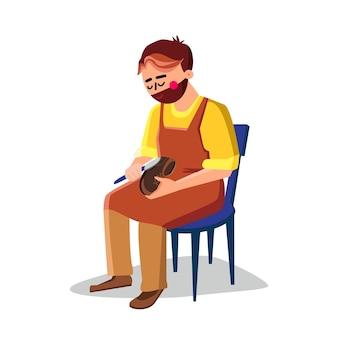 Szewc, naprawa buta z wektorem sprzętu. szewc siedzi na krześle i buty naprawcze z narzędziem mocującym. charakter rzemieślnik pracujący, profesjonalny zawód płaski ilustracja kreskówka