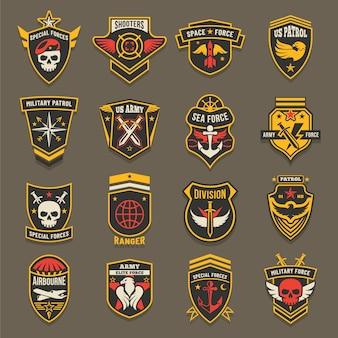Szewrony armii usa, emblematy wojskowe, odznaki sił morskich i sił powietrznych.