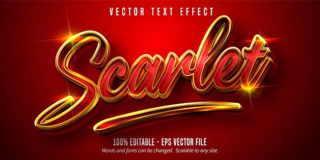 Szkarłatny tekst, błyszczący efekt edycji tekstu w stylu złotym i czerwonym