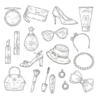 Szkic akcesoria kobiece. damskie buty, damska torebka i kapelusz, tusz do rzęs i szminka, perfumy i kolczyki ręcznie rysowane zestaw.