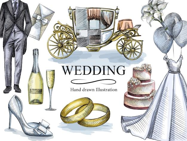 Szkic akwarela colorfu zestawu ślubnego. zestaw zawiera suknię ślubną, smoking, pierścionki zaręczynowe, zaproszenia, tort weselny 3-poziomowy, szampan i kieliszek, powóz, butonierkę, buty ślubne