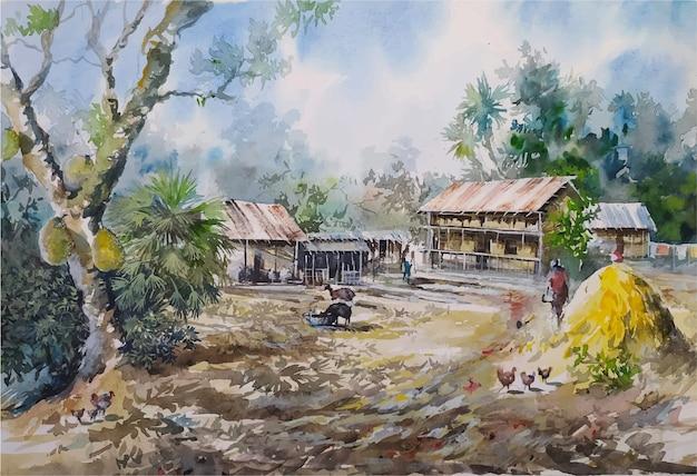 Szkic akwarela natura krajobraz na ręcznie rysowane ilustracji