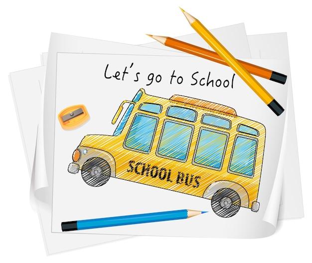Szkic autobusu szkolnego na papierze na białym tle