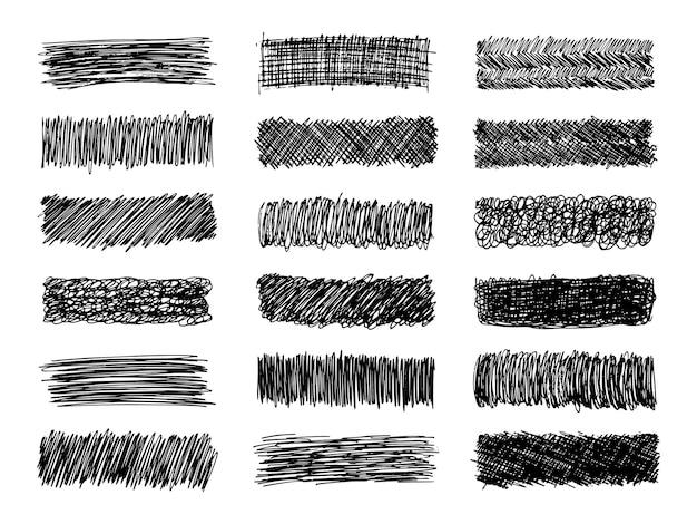 Szkic bazgrołów rozmazu. zestaw osiemnastu czarnych rozmazów ołówkowych w kształcie prostokąta na białym tle. świetny projekt do dowolnych celów. ilustracja wektorowa.