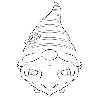 Szkic boże narodzenie ładny gnom rysunek z długim kapeluszem