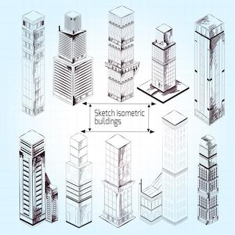 Szkic budynków izometrycznych