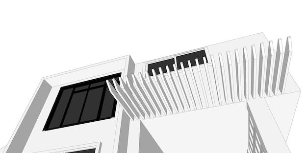 Szkic budynku architektoniczna ilustracja 3d, linie perspektywiczne budynku architektury