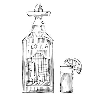 Szkic butelki tequili, szklanki z plasterkiem limonki.