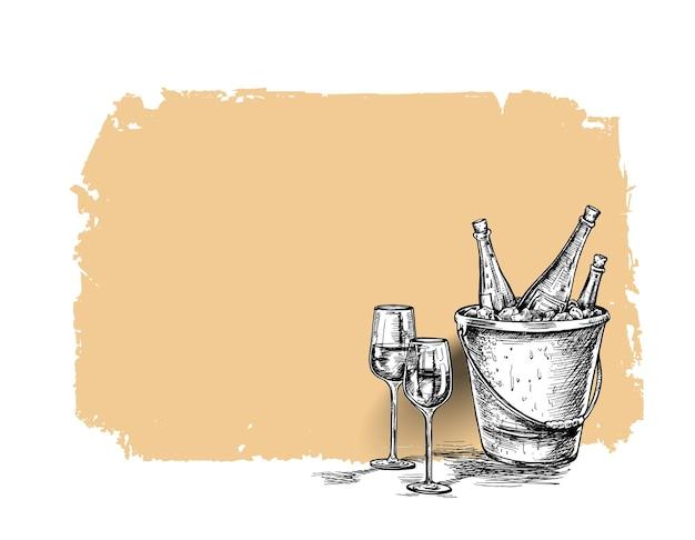 Szkic butelki wina, kieliszek czerwonego wina. ręcznie rysowane szkic wektor ilustracja.