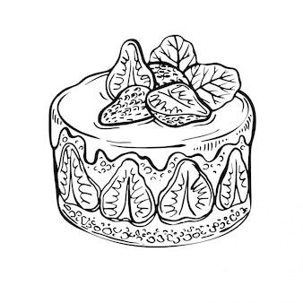 Szkic ciasto owocowe, jagoda. ręcznie rysowane tuszem ciasto truskawkowe. ilustracja do pieczenia. doodle menu kawiarni