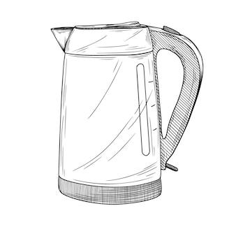 Szkic czajnika elektrycznego na białym tle. ilustracja w stylu szkicu.