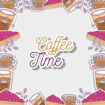 Szkic czasu kawy płaski
