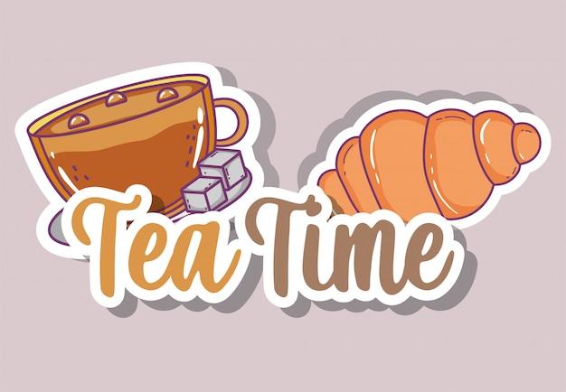 Szkic czasu na herbatę płaski