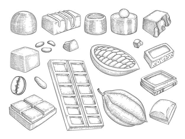 Szkic czekolady. czekolada ciągnione naturalne słodkie produkty czekolada praliny jedzenie wektor zdjęcia kolekcji. naturalne jedzenie kakaowe, ilustracja fasoli kakaowej
