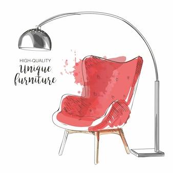 Szkic czerwone krzesło