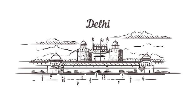 Szkic czerwonego fortu w delhi