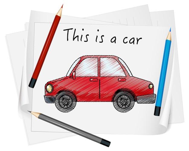 Szkic czerwony samochód na papierze na białym tle