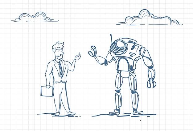 Szkic człowieka z robotem