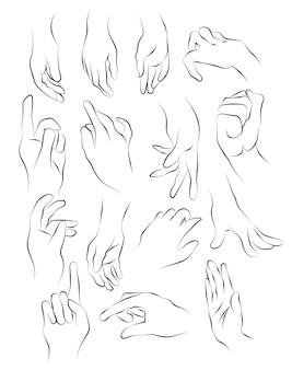 Szkic dłoni i rysunek czarno-biały