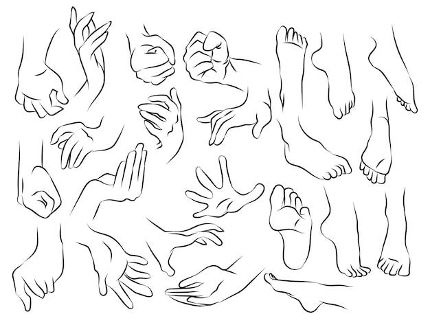 Szkic dłoni i stóp oraz rysunek czarno-biały