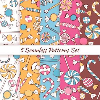 Szkic doodle cukierki słodycze zestaw bez szwu wzory. wektor 5 bezszwowe kolorowe tło wzór. ręcznie rysowane szablony kawiarni, sklepu, jedzenia i restauracji.
