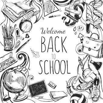 Szkic doodles back to school frame