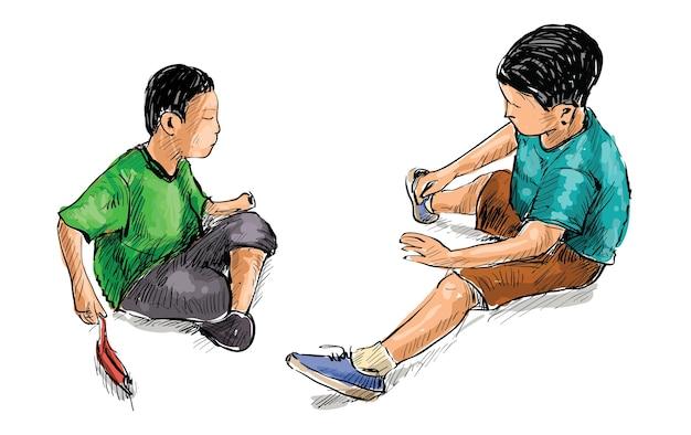 Szkic dwóch małych przyjaciół bawiących się zabawkami w piasku w parku zabaw na białym tle, ilustracja