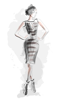 Szkic dziewczyna ilustracja moda sukienka