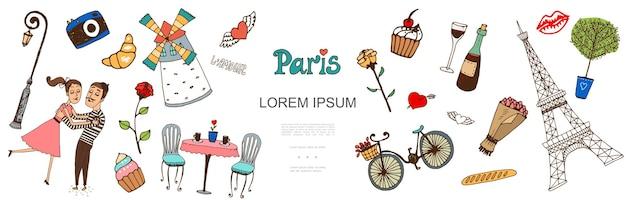 Szkic elementów paryża z ilustracji para zakochanych