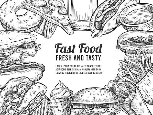 Szkic fast foodów. ręcznie rysowane hot dog, pizza i pączki, burger i frytki, lody i cola. fast food, specjalna oferta plakat wektor. ilustracja szkic menu hamburger, restauracja fast food
