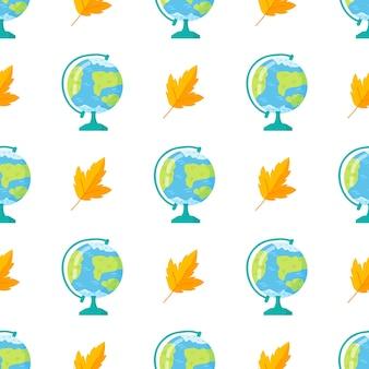 Szkic glob i jesiennych liści na białym tle. powrót do szkoły doodle wzór. kreskówka kula ziemska. element projektu do tapet, tła strony internetowej, papieru do pakowania.
