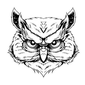 Szkic głowy sowy do tatuażu lub ilustracji