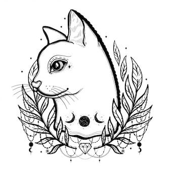 Szkic graficzny kot ilustracja z mistycznymi i okultystycznymi ręcznie rysowane symbole.