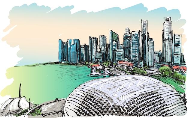 Szkic gród panoramę singapuru, ilustracja rysować odręcznie