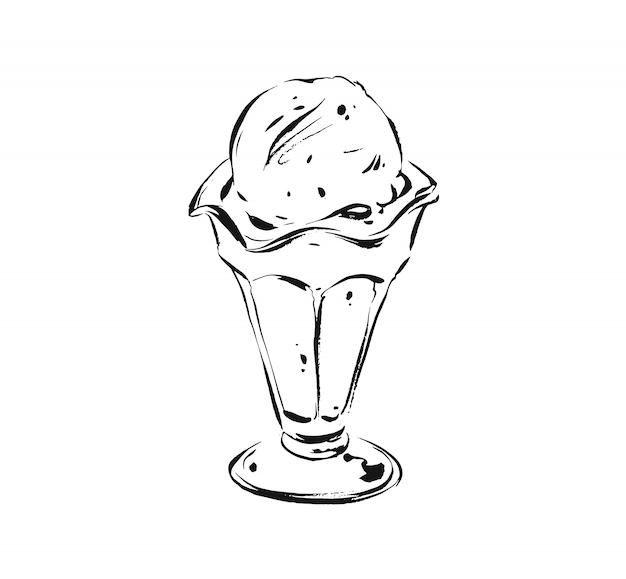 Szkic ilustracji rysunek gałką lodów w szklanym kubku na białym tle.