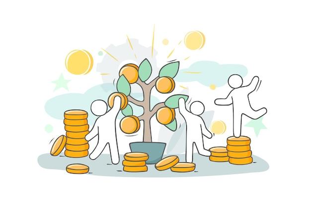Szkic ilustracji z małymi ludźmi i monetami. doodle ładny obiekt finansowy. ręcznie rysowane kreskówki