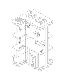 Szkic izometryczny budynku biznesowego z biurami i meblami do wnętrz. nowoczesne biuro miejskie 3d. fasada budynku architektury szklanej.