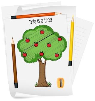 Szkic jabłoni na papierze na białym tle