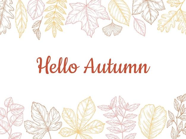 Szkic jesiennych liści tło. jesień liść transparent, kolorowy rysunek liści. las charakter listopada października ilustracji wektorowych botaniczny. botanika organiczna sezonowa, liść brzozy i ekologia kwiatowa