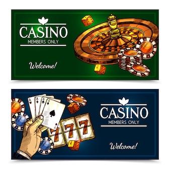 Szkic kasynie poziome banery