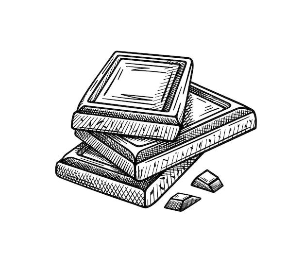 Szkic kawałków czekolady na białym tle na białym tle. rysunek odręczny. element projektu.
