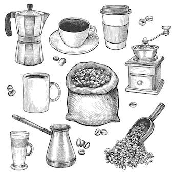Szkic kawy. młynek do kawy, czajnik, worek z paloną fasolą, cezve. latte i filiżanka espresso ręcznie rysowane grawerowane vintage wektor zestaw do menu kawiarni, restauracji lub kawiarni lub reklamy